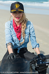 The Iron Lillies' Leticia Cline on Daytona Beach during Daytona Bike Week 75th Anniversary event. FL, USA. Thursday March 3, 2016.  Photography ©2016 Michael Lichter.