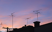 Television TV Antennas at Sunset - Melbourne, Australia <br /> <br /> Editions:- Open Edition Print / Stock Image