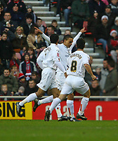 Photo: Andrew Unwin.<br />Sunderland v Luton Town. Coca Cola Championship. 09/12/2006.<br />Luton celebrate an early goal.