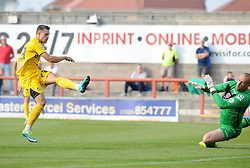 Billy Bodin of Bristol Rovers hammers home the rebound to make it 3-1 - Mandatory byline: Neil Brookman/JMP - 07966 386802 - 03/10/2015 - FOOTBALL - Globe Arena - Morecambe, England - Morecambe FC v Bristol Rovers - Sky Bet League Two