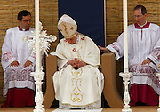 Pope Benedict XVI nods off during mass on the Granaries in Floriana, outside Valletta.