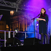 Speaker Luciana Berger is a Labour MP at the ceremony to light a sacred Menorah to celebrate Chanukah (Hanukkah), the eight-day Jewish Festival in Trafalgar Square, 5th December 2018, London, UK.