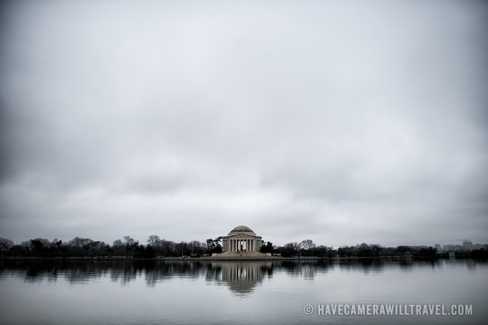 The Jefferson Memorial on a very cloud winter day, as seen from across the Tidal Basin in Washington DC.