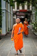"21 JULY 2013 - BANGKOK, THAILAND: A Buddhist monk walks through Wat Benchamabophit, the ""Marble Temple"" in Bangkok, Thailand.          PHOTO BY JACK KURTZ"
