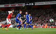 Leicester's Robert Huth scoring an own goal to put Arsenal in the lead during the Premier League match at the Emirates Stadium, London. Picture date: April 26th, 2017. Pic credit should read: David Klein/Sportimage