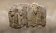 Photo of Hittite monumental relief sculpted orthostat stone panel of a Procession. Limestone, Karkamıs, (Kargamıs), Carchemish (Karkemish), 900 - 700 B.C. Anatolian Civilisations Museum, Ankara, Turkey.<br /> <br /> It is a depiction of three marching female figures in long dress with a high headdress (photos) at their head. These women are considered to be the nuns of the Goddess Kubaba. The figure in the front has a small animal in her right hand while the figure in the middle has a glass in his right hand. The object which the figures carry in their left is not understood.  <br /> <br /> Against a brown art background. .<br />  <br /> If you prefer to buy from our ALAMY STOCK LIBRARY page at https://www.alamy.com/portfolio/paul-williams-funkystock/hittite-art-antiquities.html  - Type  Karkamıs in LOWER SEARCH WITHIN GALLERY box. Refine search by adding background colour, place, museum etc.<br /> <br /> Visit our HITTITE PHOTO COLLECTIONS for more photos to download or buy as wall art prints https://funkystock.photoshelter.com/gallery-collection/The-Hittites-Art-Artefacts-Antiquities-Historic-Sites-Pictures-Images-of/C0000NUBSMhSc3Oo