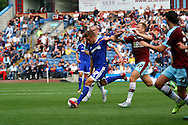 Konstantin Kerschbaumer of Brentford shoots wide. Skybet football league championship match, Burnley  v Brentford at Turf Moor in Burnley, Lancs on Saturday 22nd August 2015.<br /> pic by Chris Stading, Andrew Orchard sports photography.