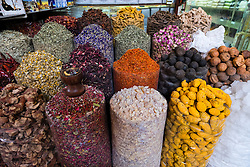 Spices and herbs for sale at Spice Souk in Deira Dubai United Arab Emirates