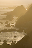Headlands glowing in the setting sun, Point Reyes National Seashore California