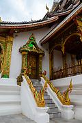 Exterior view of Haw Pha Bang Sanctuary on the grounds of the Royal Palace, Luang Prabang, Laos.