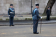 London Wednesday 17th April 2013. The funeral of former Prime Minister Baroness Margaret Thatcher. Officer in the RAF measures the distance between guards with a yard stick prior to the funeral procession.