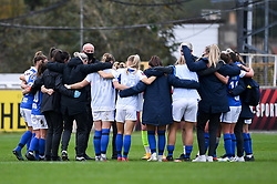 Birmingham City Women huddle after the final whistle of the match - Mandatory by-line: Ryan Hiscott/JMP - 18/10/2020 - FOOTBALL - Twerton Park - Bath, England - Bristol City Women v Birmingham City Women - Barclays FA Women's Super League