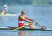 Barcelona Olympic Games 1992<br /> Olympic Regatta - Lake Banyoles<br /> CAN W1X. Silken Laumann on Rowing,  with Bandaged Leg, after a collision with another boat at an earlier European Regatta, {Mandatory Credit: © Peter Spurrier/Intersport Images]