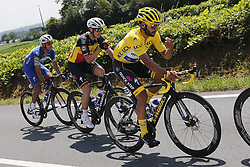 July 8, 2018 - La Roche-Sur-Yon, France - GAVIRIA RENDON Fernando (COL) of Quick - Step Floors, LAMPAERT Yves (BEL) of Quick - Step Floors and GILBERT Philippe (BEL) of Quick - Step Floors during stage 2 of the 105th edition of the 2018 Tour de France cycling race, a stage of 182.5 kms between Mouilleron - Saint-Germain and La Roche-Sur-Yon on July 08, 2018 in La Roche-Sur-Yon, France, 8/07/18 (Credit Image: © Panoramic via ZUMA Press)