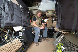 Matt in the back of one of the Foxhounds. Feature on the Army's new Foxhound light mechanised infantry vehicles at Fort George army barracks, before they leave on convoy for England, before going into active service.