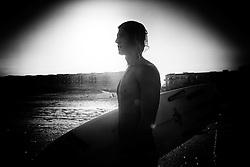 2013 September 07: Surfer Nick Tudor at Wrightsville Beach, North Carolina.