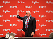 08 MAY 2020 - WEST DES MOINES, IOWA: Vice President MIKE PENCE waves to the crowd at Hy-Vee corporate headquarters Friday. He visited Hy-Vee, a regional grocery store chain, to talk about the security of the food supply system. The Governor of Iowa started reopening businesses in the state even though coronavirus (SAR-CoV-2) infections are continuing to rise. President Trump signed an executive order on April 28 to compel meat packing plants to stay open as a part of critical infrastructure, but in Iowa many plants remain closed. The meat packing industry is the main source of COVID-19 infections in rural parts of Iowa. Iowa has recorded 11,457 cases of  COVID-19 and 243 deaths caused by virus.         PHOTO BY JACK KURTZ