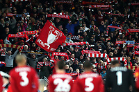 Football - 2019 / 2020 Premier League - Liverpool vs. Manchester City<br /> <br /> Liverpool fans with scarves and banners, at Anfield.<br /> <br /> COLORSPORT/PAUL GREENWOOD