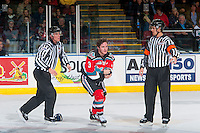 KELOWNA, CANADA - OCTOBER 14: Riley Stadel #3 of Kelowna Rockets drops the gloves with Chasetan Braid #18 of Saskatoon Blades on October 14, 2016 at Prospera Place in Kelowna, British Columbia, Canada.  (Photo by Marissa Baecker/Shoot the Breeze)  *** Local Caption *** Riley Stadel; Tim Plamondon; Kevin Bennett;
