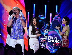 LOS ANGELES - AUGUST 13: L-R: Logan Paul, Janel Parrish and Lucy Hale onstage at FOX's 'Teen Choice 2017' at the Galen Center on August 13, 2017 in Los Angeles, California. (Photo by Frank Micelotta/FOX/PictureGroup) *** Please Use Credit from Credit Field ***