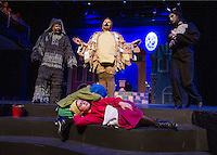 """Pepicek (Tyler Browne) and Aninku (Polly Vaillant) asleep on the steps with Dog (Shawn Zappala), Sparrow (Sarah Cook) and Cat (Heather Hunt) during Act Two of """"The Brundibar Project"""" with Winnipesaukee Playhouse on Tuesday evening.  (Karen Bobotas/for the Laconia Daily Sun)"""