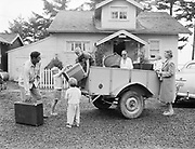 Y-500903-01.  Society – people at beach leaving to come home (to Portland). Gearhart. September 3-4 1950