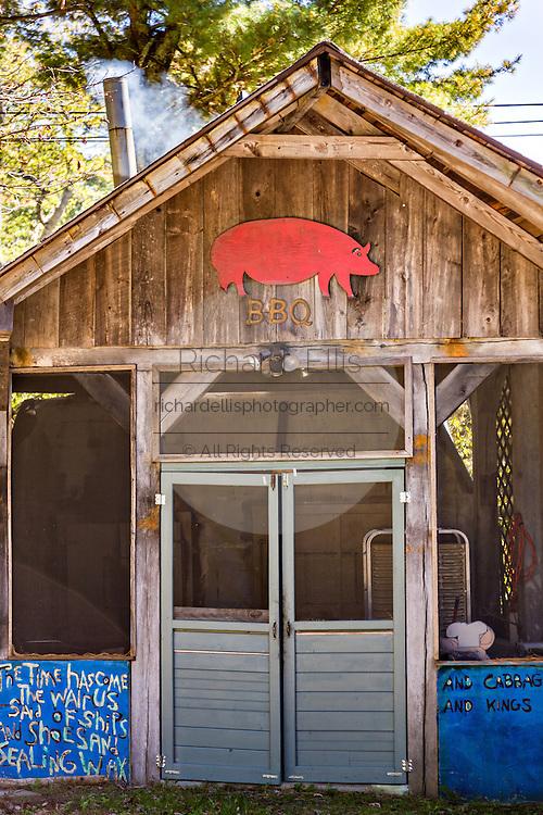 Barbecue smokehouse in the Blue Ridge mountain hamlet of Little Switzerland, North Carolina.