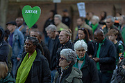 June 14, 2019 - GBR - People march to mark the two-year anniversary of the Grenfell Tower block fire in London, Friday, June 14, 2019. Survivors, neighbors and politicians including London Mayor Sadiq Khan attended a church service of remembrance on Friday for the Grenfell Tower blaze, the deadliest fire on British soil since World War II. (Credit Image: © Vedat Xhymshiti/ZUMA Wire)