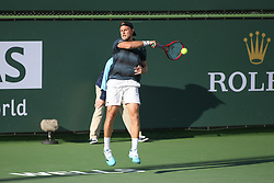 March 7, 2019 - Indian Wells, CA, U.S. - INDIAN WELLS, CA - MARCH 07: Denis Kudla (USA) hits a forehand during the BNP Paribas Open on March 7, 2019 at Indian Wells Tennis Garden in Indian Wells, CA. (Photo by George Walker/Icon Sportswire) (Credit Image: © George Walker/Icon SMI via ZUMA Press)