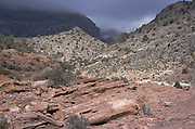 scenic photo of desert mountain range with clouds