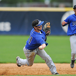 Hammonton shortstop Tim Gallagher turns a double-play with an off-balance throw to first base during NJSIAA Group III baseball semifinal action between Hammonton High School and Freehold Boro High School at Monmouth University..Photo/Will Schneekloth special to The Daily Journal