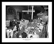 Great historic picture of the Fruit Market in Dublin. Irish Photo Archive has millions of old images of Ireland to give as anniversary gifts.