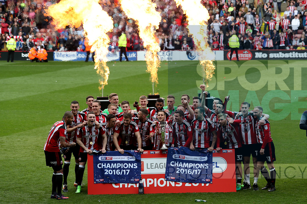 Sheffield United win English League One during the English League One match at Bramall Lane Stadium, Sheffield. Picture date: April 30th, 2017. Pic credit should read: Jamie Tyerman/Sportimage