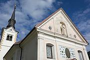 A rural Slovenian village church, on 18th June 2018, in Bohinjska Bela, Bled, Slovenia.