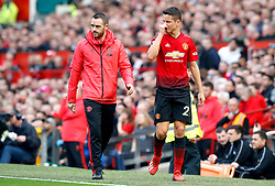 Manchester United's Ander Herrera (right) is substituted for Andreas Pereira (not in frame) after picking up an injury during the Premier League match at Old Trafford, Manchester.