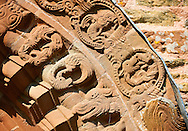 Norman Romanesque relief sculptures of dragons and mythical creatures depicting the struggle between good and evil, from the South doorway of Church of St Mary and St David, Kilpeck Herifordshire, England. Built around 1140 .<br /> <br /> Visit our MEDIEVAL PHOTO COLLECTIONS for more   photos  to download or buy as prints https://funkystock.photoshelter.com/gallery-collection/Medieval-Middle-Ages-Historic-Places-Arcaeological-Sites-Pictures-Images-of/C0000B5ZA54_WD0s