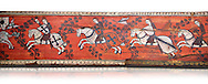 Gothic decorative painted beam panels with gknights on horses, Tempera on wood. National Museum of Catalan Art (MNAC), Barcelona, Spain, Against a white background. .<br /> <br /> If you prefer you can also buy from our ALAMY PHOTO LIBRARY  Collection visit : https://www.alamy.com/portfolio/paul-williams-funkystock/gothic-art-antiquities.html  Type -     MANAC    - into the LOWER SEARCH WITHIN GALLERY box. Refine search by adding background colour, place, museum etc<br /> <br /> Visit our MEDIEVAL GOTHIC ART PHOTO COLLECTIONS for more   photos  to download or buy as prints https://funkystock.photoshelter.com/gallery-collection/Medieval-Gothic-Art-Antiquities-Historic-Sites-Pictures-Images-of/C0000gZ8POl_DCqE