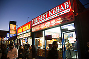 Kebab shop fast food restaurant on City Road in East London, UK.