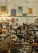 Italy, Capannori, cycle shop at the Daccapo warehouse