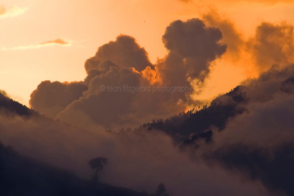Cloud covered mountains near Lake Atitlán, )Guatemala