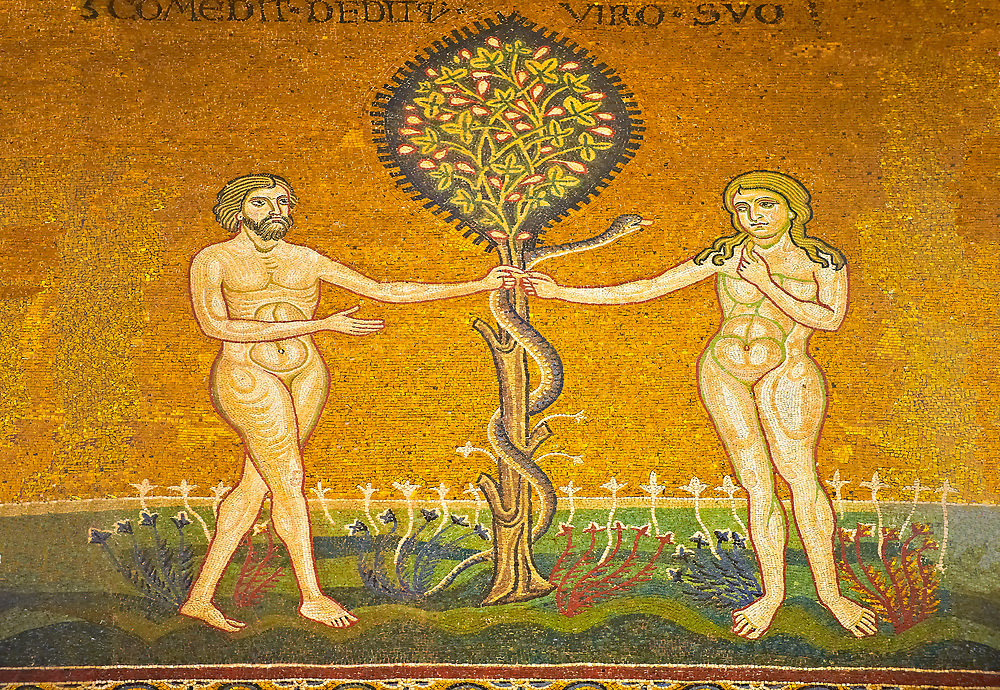Medieval Byzantine mosaics of Adam & Eve A the Serpant, Monreale Cathedral, Sicily .<br /> <br /> If you prefer you can also buy from our ALAMY PHOTO LIBRARY  Collection visit : https://www.alamy.com/portfolio/paul-williams-funkystock/monrealeduomomosaics.html. Refine search by adding subject etc  into the LOWER SEARCH WITHIN GALLERY box. <br /> <br /> Visit our BYZANTINE MOSAIC PHOTO COLLECTION for more   photos  to download or buy as prints https://funkystock.photoshelter.com/gallery-collection/Roman-Byzantine-Art-Artefacts-Antiquities-Historic-Sites-Pictures-Images-of/C0000lW_87AclrOk