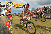 Nino Schurter of team SCOTT-Odlo MTB racing crosses the finishline during the final stage (stage 7) of the 2014 Absa Cape Epic Mountain Bike stage race from Oak Valley Wine Estate in Elgin to Lourensford Wine Estate in Somerset West, South Africa on the 30 March 2014<br /> <br /> Photo by Greg Beadle/Cape Epic/SPORTZPICS