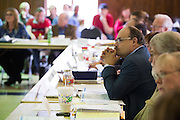 Dr. Slawomir Lomnicki, a professor of chemistry at LSU, looks on during a meeting with the EPA, Army and local residents to discuss the disposal of 15 million pounds of M6 located at Camp Minden in Minden, Louisiana on March 11, 2015. (Cooper Neill for The New York Times)