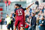 Bradford City defender Anthony O'Connor (6) scores a goal and celebrates to make the score 1-1 during the EFL Sky Bet League 1 match between Bradford City and Sunderland at the Northern Commercials Stadium, Bradford, England on 6 October 2018.