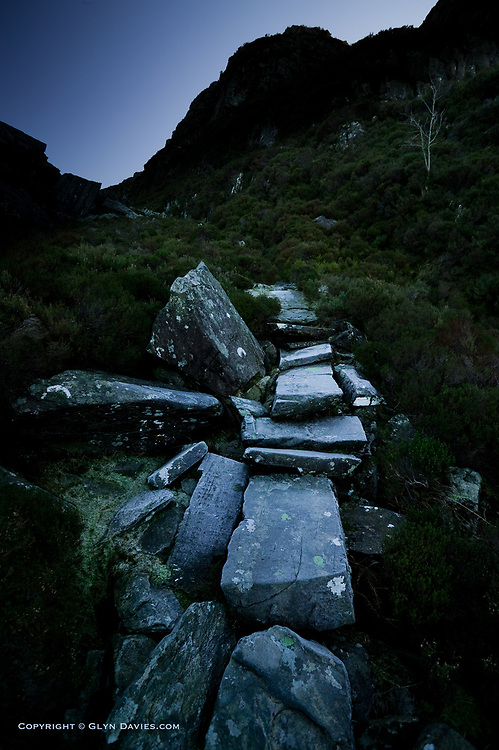This path paved with large slabs and stones has usually been referred to as the Roman Steps, but more recently it is believed this impressive path cutting a route through the often silent Rhinoggau Mountains is actually more likely a drovers path. You feel you are stepping in history regardless.