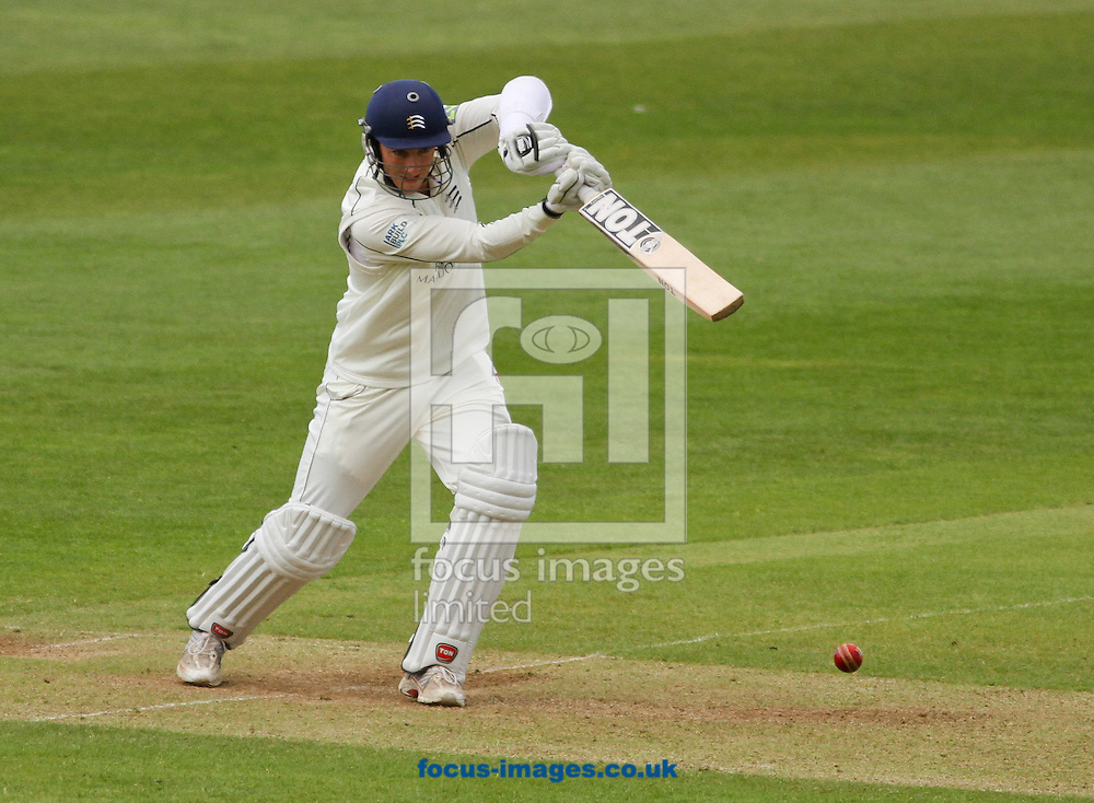 Picture by Tom Smith/Focus Images Ltd 07545141164.15/05/2013.Toby Roland-Jones of Middlesex County Cricket Club plays a shot during day one of the LV County Championship Div One match at the County Ground, Taunton, Taunton.