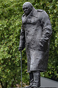 The Winston Churchill statue is seen open and cleaned in Parliament Square in central London on Thursday, June 18, 2020, prior to a visit of the French President Emmanuel Macron to London. For his first foreign trip since lockdown, Emmanuel Macron will be in London to mark the 80th anniversary of de Gaulle's « appel de Londres », as well as cement Franco-UK ties at a strained time due to Brexit. A joint French and British jet flypast is announced to be performed at 5pm.