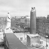 A rooftop view of the remains of Nelson's Pillar after the explosion that took place on March 8, 1966 in Dublin city centre. (Part of the Independent Newspapers/NLI Collection)