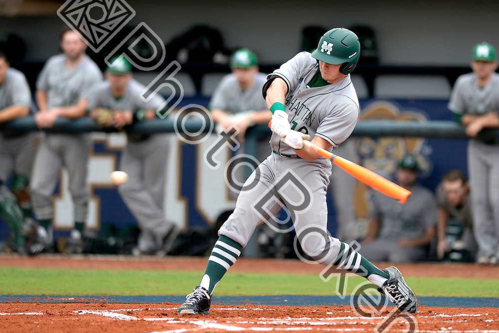 2015 February 28 - Manhattan's Christian Santisteban (10). <br /> Florida International University defeated Manhattan, 17-0, at FIU Baseball Stadium, Miami, Florida. (Photo by: Alex J. Hernandez / photobokeh.com) This image is copyright by PhotoBokeh.com and may not be reproduced or retransmitted without express written consent of PhotoBokeh.com. ©2015 PhotoBokeh.com - All Rights Reserved