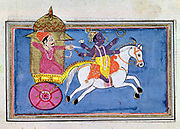 Krishna, Hindu deity, an avatar of Vishnu. 17th century illustration for epic poem 'Mahabharata' showing hero Arjuna in carriage behind Krishna mounted on horse.